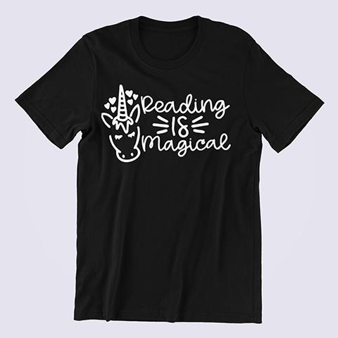 Reading-is-Magical-Unicorn-T-shirt-black