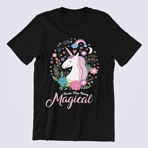 Unicorn-Shirt-Never-Stop-Being-Magical-black