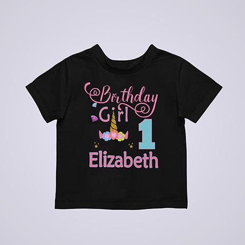 Personalized Cool Unicorn birthday shirt Black